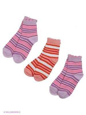 Носки - 3 пары Гамма. Цвет: персиковый, фиолетовый