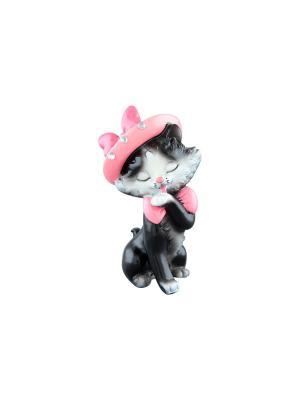 Фигурка декоративная Кошечка Мурка в шляпке Elan Gallery. Цвет: розовый, белый, черный
