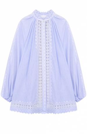 Хлопковая блуза свободного кроя с кружевной отделкой Zimmermann. Цвет: голубой