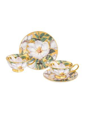 Чайная пара Белый шиповник на золоте Elan Gallery. Цвет: белый, зеленый, золотистый