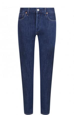 Укороченные джинсы прямого кроя с контрастной прострочкой Citizens Of Humanity. Цвет: синий