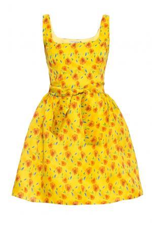 Платье из шелка с поясом 170703 Villa Turgenev. Цвет: разноцветный