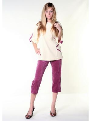 Велюровый костюм Тефия. Цвет: лиловый, кремовый