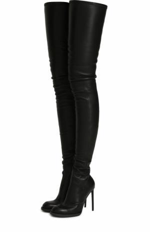 Кожаные ботфорты на шпильке Haider Ackermann. Цвет: черный