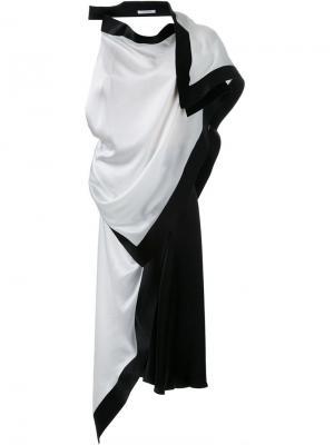 Асимметричное платье-шарф Thomas Tait. Цвет: белый
