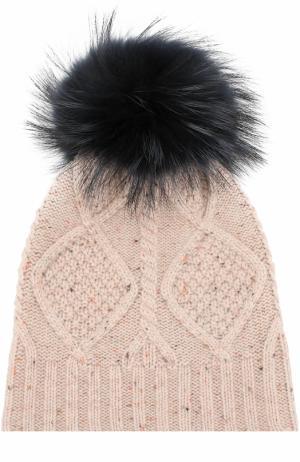 Шерстяная шапка фактурной вязки с меховым помпоном Yves Salomon Enfant. Цвет: синий