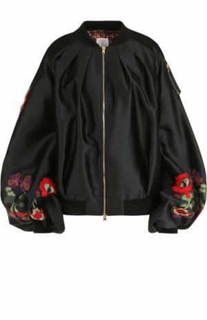 Бомбер с объемными рукавами и вышивкой Stella Jean. Цвет: черный