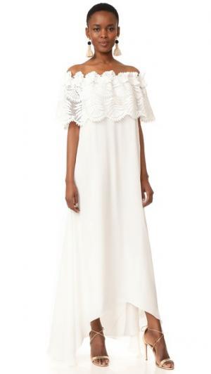Кружевное макси-платье Felicia Palm Leaf Miguelina. Цвет: белый