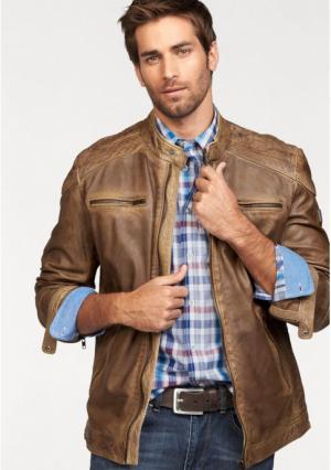 Кожаная куртка Rhode Island. Цвет: коньячный