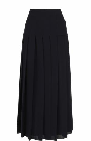 Однотонная юбка-миди в складку Victoria Beckham. Цвет: темно-синий