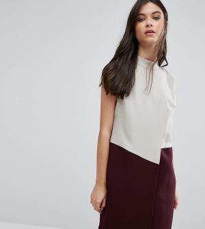 Alter Petite Платье колор блок без рукавов с запахом. Цвет: мульти