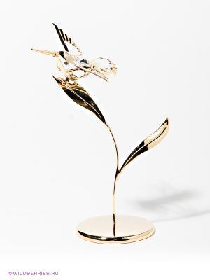 Фигурка Колибри на лепестке Юнион. Цвет: золотистый