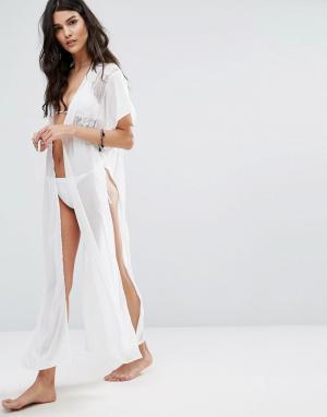 Liquorish Пляжное платье из прозрачного цветочного кружева. Цвет: белый