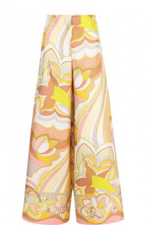 Широкие шелковые брюки с принтом Emilio Pucci. Цвет: разноцветный