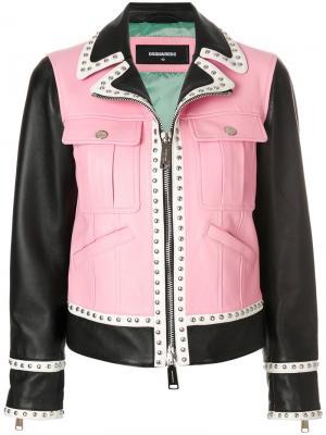 Куртка с панельным дизайном Dsquared2. Цвет: розовый и фиолетовый