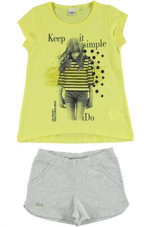Комплект: футболка, шорты IDO. Цвет: серо-желтый
