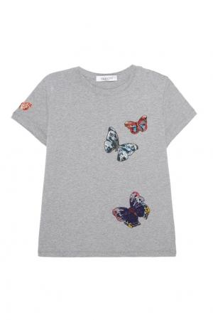 Хлопковая футболка с бабочками Valentino. Цвет: серый
