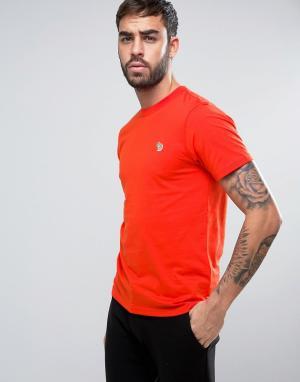 PS by Paul Smith Красная узкая футболка с логотипом. Цвет: красный