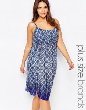 Diya Платье на бретельках с геометрическим принтом Plus. Цвет: синий