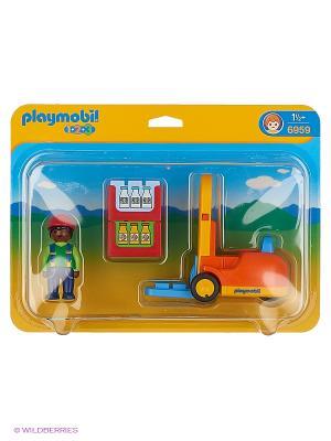 Вилочный погрузчик Playmobil. Цвет: желтый, синий, красный