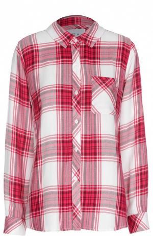 Блуза прямого кроя в клетку с накладным карманом Rails. Цвет: малиновый