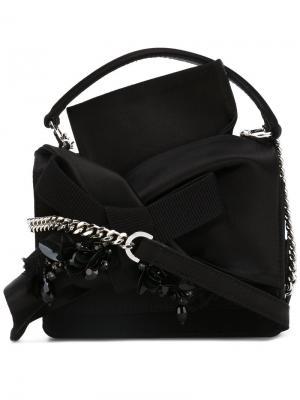 Декорированная сумка через плечо с узлом Nº21. Цвет: чёрный