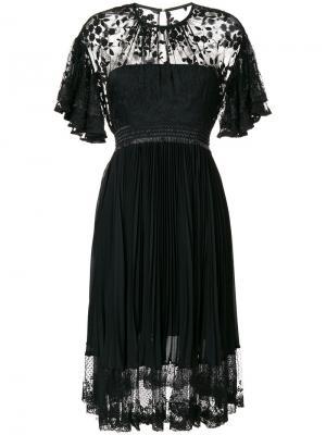Плиссированная кружевное платье Three Floor. Цвет: чёрный