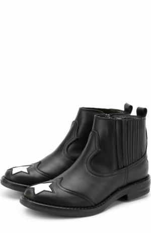 Кожаные ботинки с прострочкой и отделкой в виде звезд Simonetta. Цвет: черный