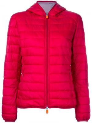 Куртка-пуховик с капюшоном Save The Duck. Цвет: красный