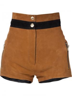 Замшевые шорты с контрастным поясом Beau Souci. Цвет: коричневый