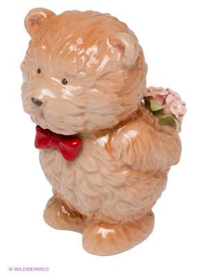 Фигурка Мишка с букетом Pavone. Цвет: бежевый, красный, розовый