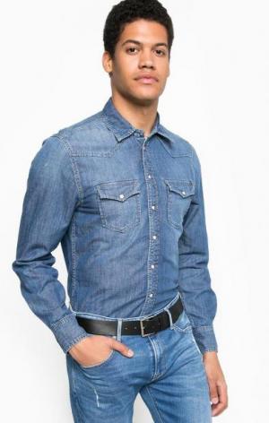 Синяя джинсовая рубашка с двумя карманами Pepe Jeans. Цвет: синий