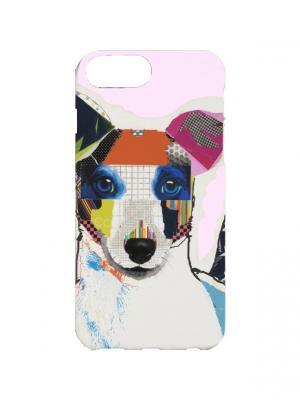 Чехол для iPhone 7Plus Джек-рассел-терьер Арт. 7Plus-210 Chocopony. Цвет: розовый, белый, голубой
