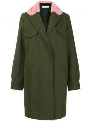 Пальто с контрастным воротником Inès & Maréchal. Цвет: зелёный