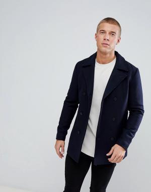 Just Junkies Двубортное пальто с добавлением шерсти. Цвет: темно-синий
