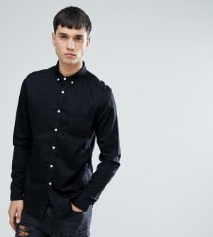 ASOS Черная приталенная джинсовая рубашка TALL. Цвет: черный