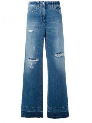 Широкие джинсы с протертостями Dondup. Цвет: синий