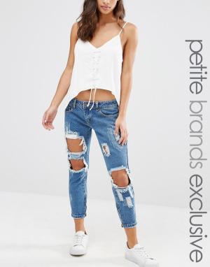 Liquor & Poker Petite Рваные джинсы скинни. Цвет: синий