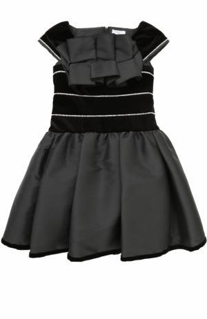 Платье-миди со стразами и декоративной оборкой Monnalisa. Цвет: черный