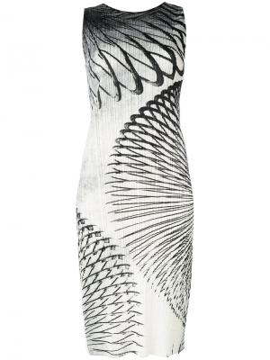 Printed fitted dress Pleats Please By Issey Miyake. Цвет: многоцветный