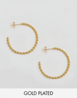 Ottoman Hands Эффектные серьги-кольца с перекрученной отделкой. Цвет: золотой