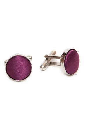 Запонки классика фиолетовая ткань Churchill accessories. Цвет: серебристый