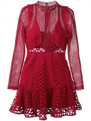 Короткое платье Hall Self-Portrait. Цвет: красный