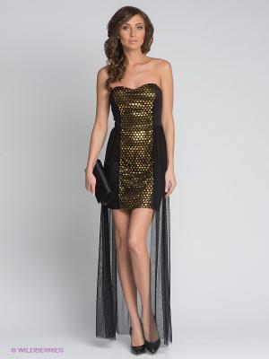 Платье FRENCH HINT. Цвет: черный, золотистый
