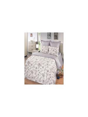 Комплект постельного белья из тк.Сатин в подарочной упаковке Хрусталь Арт Постель. Цвет: бежевый, серый