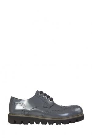Серые кожаные броги Rocco P. Цвет: серый