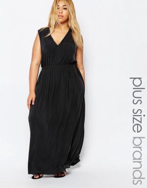 Carmakoma Платье макси с глубоким вырезом спереди. Цвет: черный