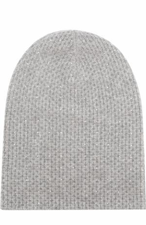 Кашемировая вязаная шапка с отделкой из страз Swarovski William Sharp. Цвет: серый