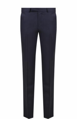 Шерстяные брюки прямого кроя Ermenegildo Zegna. Цвет: темно-синий