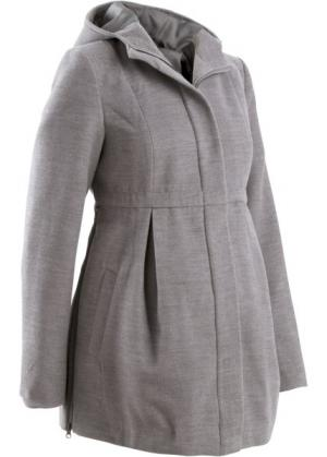 Мода для беременных: регулируемое полупальто с капюшоном (серый меланж) bonprix. Цвет: серый меланж